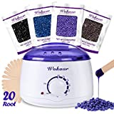 Wax Warmer Hair Removal Waxing Kit with 4 flavors Hard Wax Beans(Chamomile, Lavender,Nature,Chocolate) and 20 Applicator Sticks,Painlessly Remove Hair For Summer Bikini Arm Legs