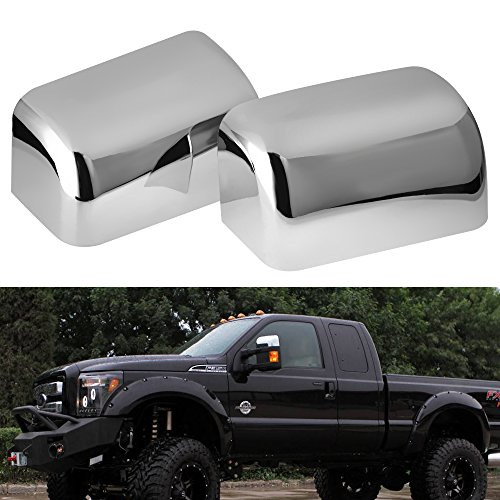 Top Half Mirror Cover Fits 2008-2016 Ford F250 F350 F450 Super Duty Triple Chrome Plated (One Pair)