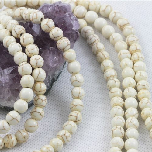 1 X Howlite Turquoise Loose Beads Round 8mm 16 inch strand White