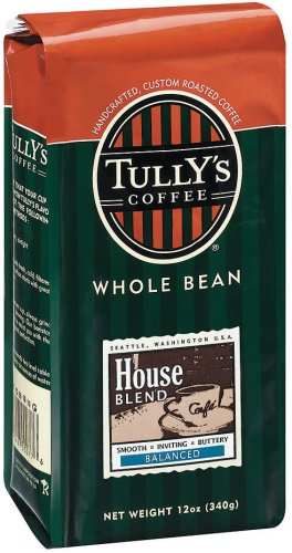 Tully's Coffee House, Whole Bean , 12 Ounce Bags (Pack of 3)