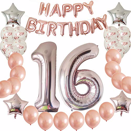 Rose Gold Sweet 16th Birthday Party Supplies Gift for Girls|Boys-Happy Birthday Balloons Banner-Prefilled Rose Gold Confetti Metallic as Photo Booth -