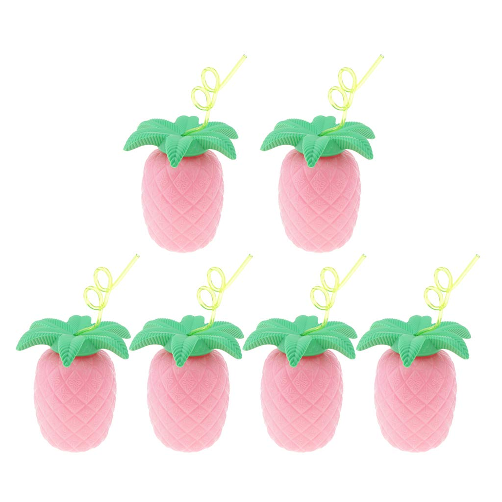 Prettyia Pack of 6 Funny Hawaiian Pineapple Drink Cup with Straw Cocktail Party Home Bar Tableware Serveware Pink