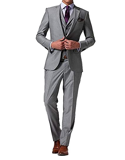 Mens 3 Pieces Grey Two Buttons Suits Formal Slim Fit Business Suits Wedding Suits Prom Tuxedos