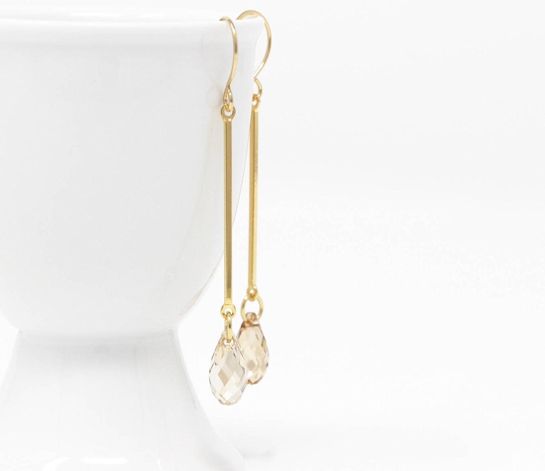 Long Amber Swarovski Crystal Dangle Earrings