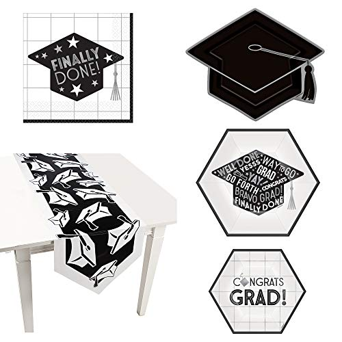 Fun Express Grey, Black, White Graduation Party Bundle | Luncheon Napkins, Plates, Table Runner | Great Graduation Day, Family Dinner, Classroom Celebration, School Party