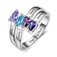 Lam Hub Fong Personalized Mothers Rings with 4 Simulated Birthstones Mothers Days Rings for 4 Grandmother Family Anniversary Mother Daughter Rings