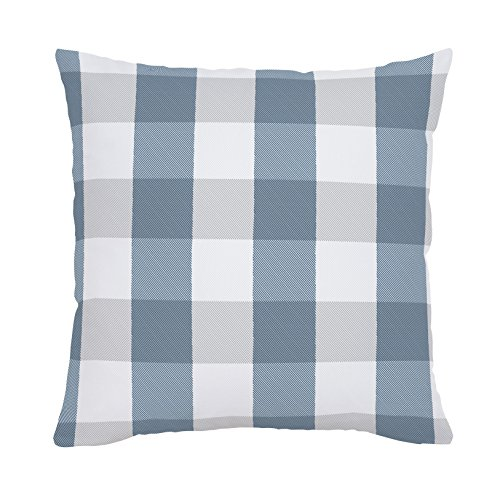 - Carousel Designs Denim and Silver Gray Buffalo Check Throw Pillow 26-Inch Square Size - Organic 100% Cotton Throw Pillow Cover + Insert - Made in The USA