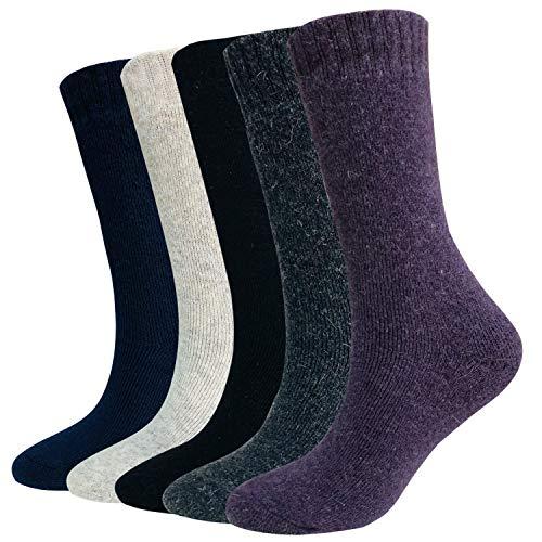 Boot Sock Blend (Wool Socks For Women Men 5 Pack-Winter Soft Thick Warm Hiker Boot Crew Socks (Assorted B-Women))