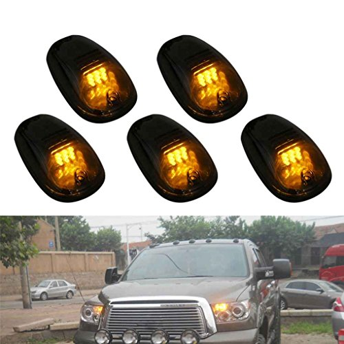 9 LED T10 Amber Lamps Cab Running Marker Lights Smoke Cover Lens with Switch for Pickup Truck SUV Off Road