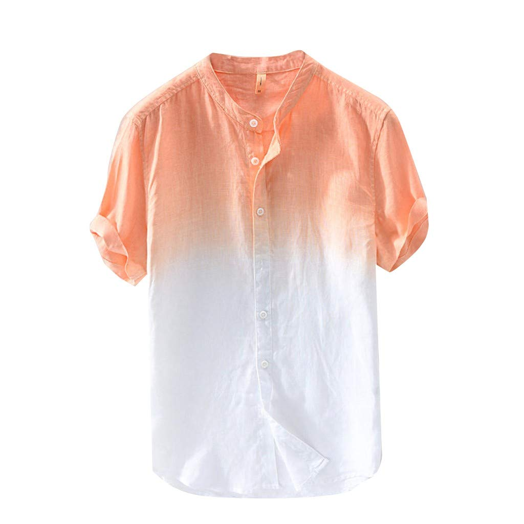 Summer Cotton Shirt Men Cool and Thin Breathable Collar Hanging Dyed Gradient Top D Orange by VEZAD