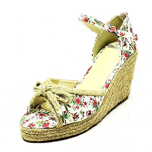 SendIt4Me Ladies Canvas Peep Toe Wicker Wedge Sandals Red ue0MWd1a2x