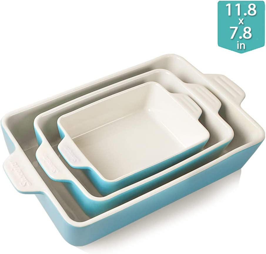 Sweejar Ceramic Bakeware Set, Rectangular Baking Dish Lasagna Pans for Cooking, Kitchen, Cake Dinner, Banquet and Daily Use, 11.8 x 7.8 x 2.75 Inches of Baking Pans(Steel Blue)