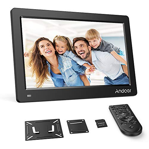 Andoer 15.6 Inch Digital Photo Picture Frame 1920x1080 IPS Screen Support Calendar/Clock/MP3/Photos/1080P Video Player with Standard Wall Mounting Bracket, 8GB Memory Card, Remote Control (Black)