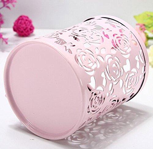 Leegoal(TM) Hollow Rose Flower Metal Pen Pencil Cup Holder Desk Organizer (Pink) Photo #4