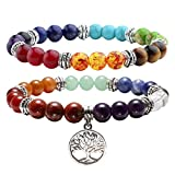 JOVIVI 2pc 7 Chakras Yoga Meditation Healing Balancing Round Stone Beads Stretch Bracelet Set, with Gift Box