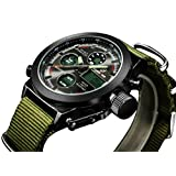 LYMFHCH Big Face Sports Watch for Men, Waterproof Military Wrist Digital Watches in Green Canvas Band