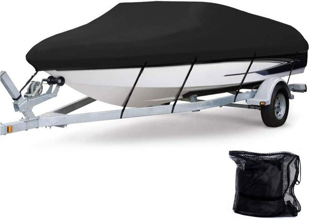 Anglink Waterproof Boat Cover, Heavy Duty 600D Polyester Oxford Professional Bass Runabout Boat Cover, Durable and Tear Proof, All Weather Outdoor Protection Fits 17-19 feet V-Hull, Tri-Hull