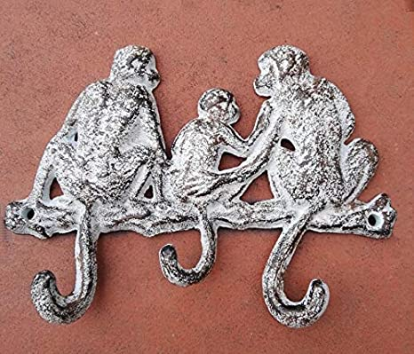 Lustiger Wandhaken Garderobe Handtuchhalter Hakenleiste Motiv Affen Guss