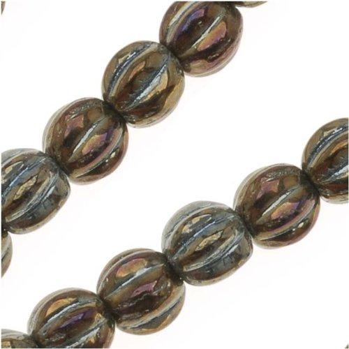 Czech Pressed Glass - Round Melon Beads 5mm Diameter 'Brown (Iris Glass Beads)
