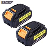 DCB205 Replacement for Dewalt 20V Max XR Battery 3.0Ah Lithium Ion DCB200 DCB201 DCB203 DCB204 DCB206 DCB207 High Capacity Cordless Power Tools (2Packs)