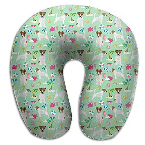 Jack Russell Beagle - Jack Russell Terrier Palm Tree Beach Dog Perfectly Memory Foam Travel Neck Pillow