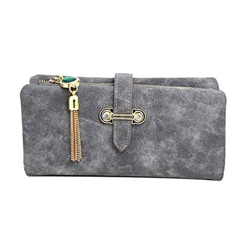 Haoling Mode Femmes Longue Portefeuille Nubuck En Cuir Zipper Porte-Monnaie Vintage Gland Pochette Sac Femelle Porte-Monnaie Titulaires Retro Gray