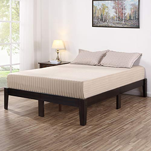 (Olee Sleep VC14SF02Q-1 Deluxe Wood Platform Bed Frame, Queen, Dark Brown)