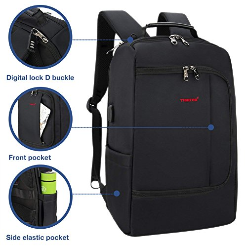 TIGERNU Slim Business Backpack with USB Charging Port Convertible Water Resistence Carry on Travel Bag with Luggage Strap Fits 15 15.6 Inch Laptops For Men Women Black by TIGERNU (Image #4)
