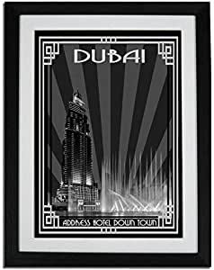 Address Hotel Down Town- Black And White With Silver Border F01-m (a2) - Framed
