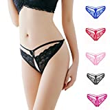 Lumumi Sex Lingerie for Women,Women's Sexy Lace G-String Open Crotch Thong Panties T-Back Underwear (Black, One Size)