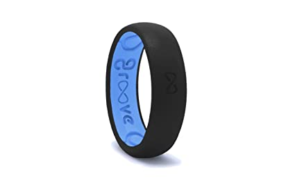 dbe7bf4567041 Groove Life - Groove Ring The Worlds First Breathable Silicone Ring Thin  (Midnight Black/Glacier Blue) (Size 5)