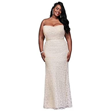 Davids Bridal Guipure Lace Sheath Plus Size Wedding Dress Style