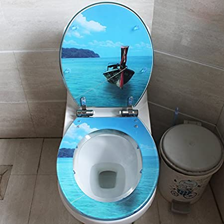 European Fashion Resin Toilet Cover General Seat Cover to Slow Down Uvo Toilet Cover General Imitation White Marble,Small Blue Breamsimple Modern Comfortable Bacteria Removal Home Toilet Common