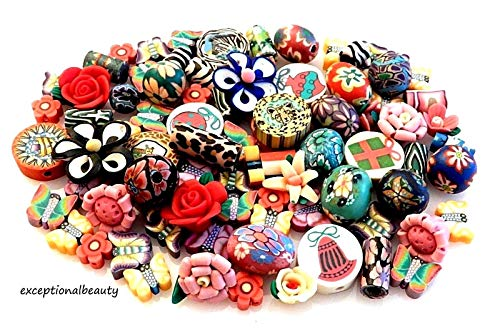 100 Fimo 7-20mm Assorted Mix Color Shape Polymer Clay Beads Flower Butterfly +