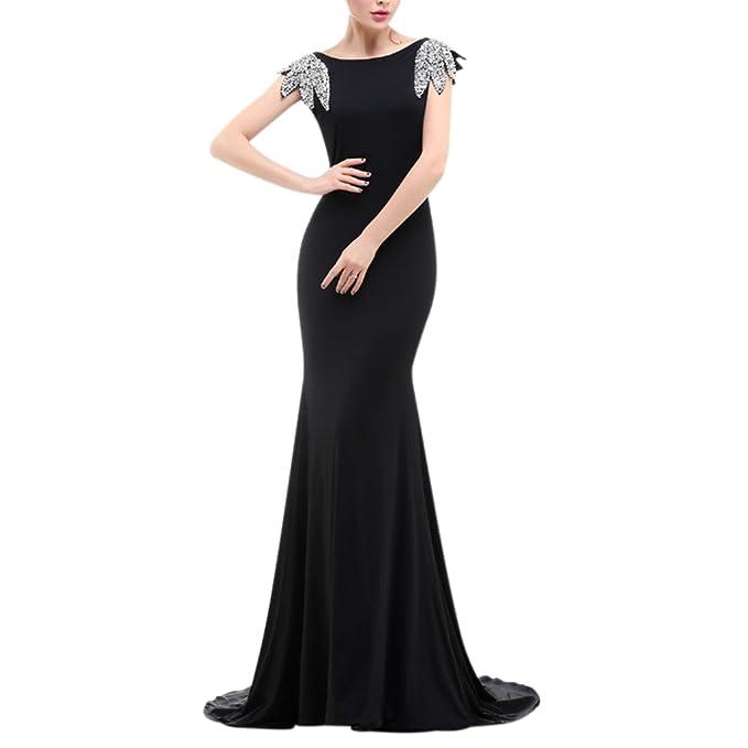 ec6e354931d LeoGirl Womens Rhinestone Leaf Sleeves Long Mermaid Prom Dresses Backless Formal  Gown (2