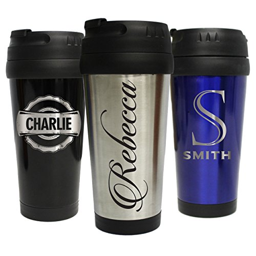 (Personalized Travel Tumbler Coffee Mug - Engraved Custom Monogrammed for Free - 16 oz)