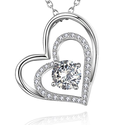 Heart Necklaces in Sterling Silver with Simulated Diamond, Love Jewelry Pendant for Girlfriend Mother Mom
