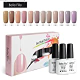 Belle Fille Nude Nail Polish 8ml 12 pcs Pure Color Blue Series UV LED Soak Off Gel Polish for Beauty Salon Private Painting-Packed with Box
