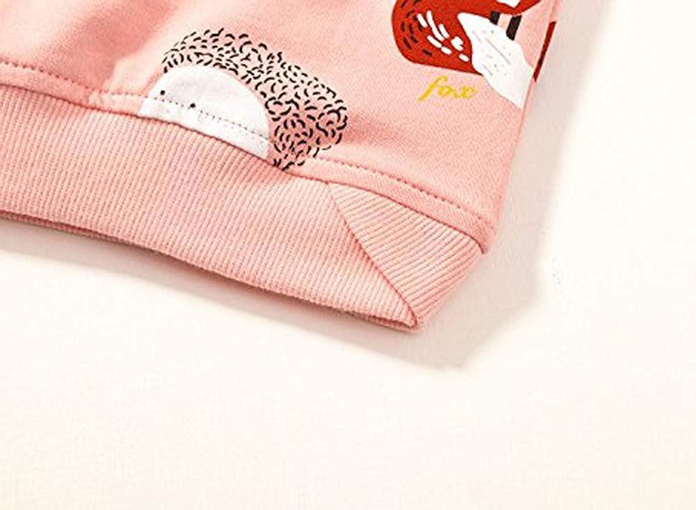 Juliarode Little Girls Cartoon Animals The Hedgehog and The Fox Cotton Top Cute Cartoon Pink Sweatshirt