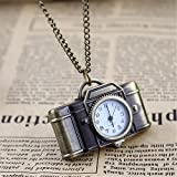 Feelontop Vintage Style Camera Shape Pocket Watch Necklace with Free Jewelry Pouch