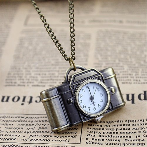 Feelontop Vintage Style Camera Shape Pocket Watch Necklace with Free Jewelry Pouch - Watch Necklace Vintage
