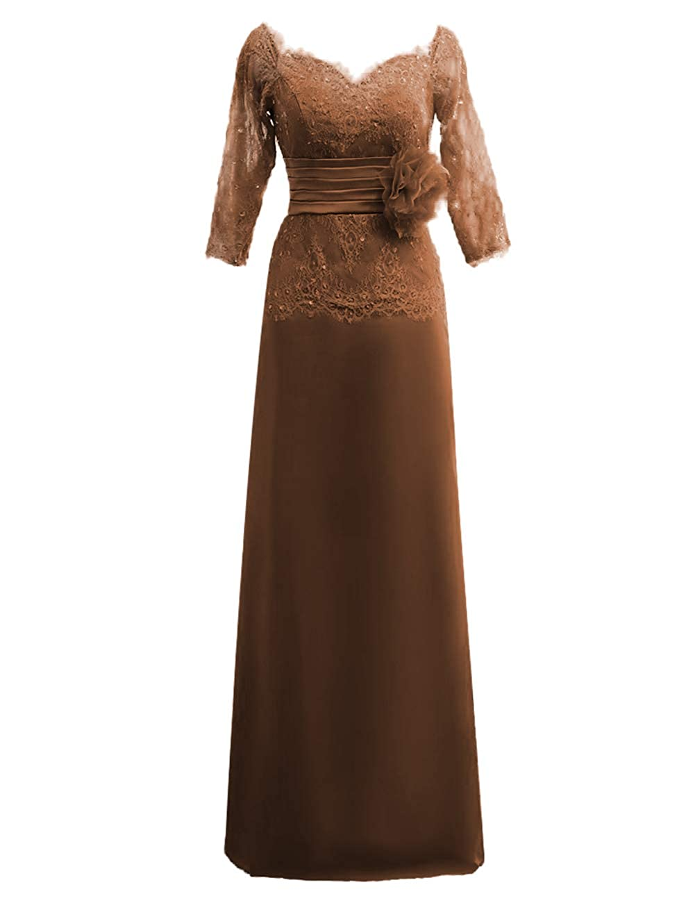 Chocolate JAEDEN Mother of The Bride Dresses Long Sleeves Formal Evening Gowns for Women Lace Evening Dresses for Wedding
