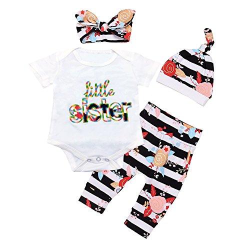 OUTGLE Newborn Baby Girl Toddler Little Sister Romper + Stripe Trousers + Hat + Headband Summer Spring (Sisters Stripe)