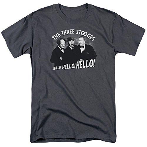 Three Stooges Slapstick Comedic Group Icons Hello! Hello! Hello! Adult T-Shirt]()