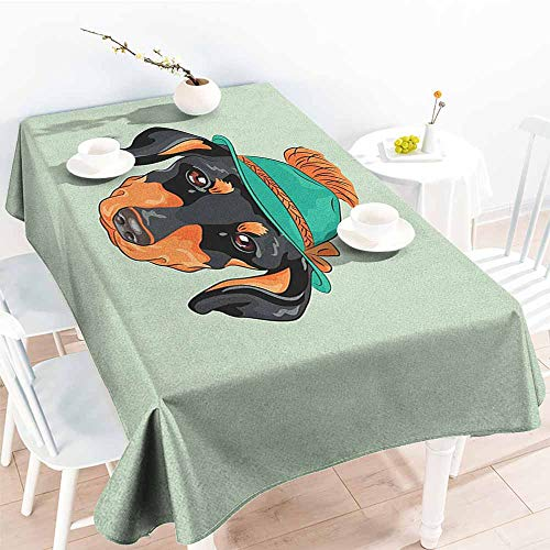 (Willsd Spill-Proof Table Cover,Dachshund Hipster Pure Breed Dog Silhouette in a Green Tyrolean Hat Cute Dachshund Puppy,High-end Durable Creative Home,W52x70L Multicolor)