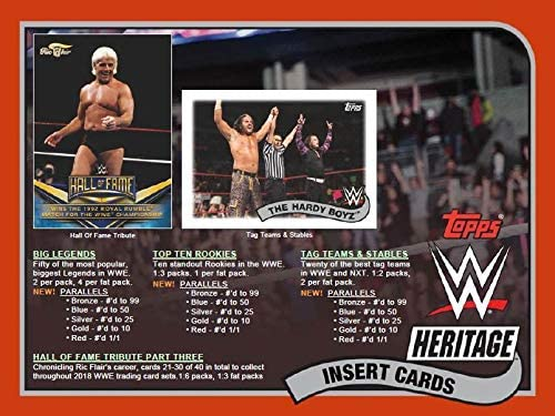 2018 Topps Heritage WWE Wrestling Series Unopened Box of Packs with One GUARANTEED Authentic Relic Card Per Box plus 60 additional cards including Ric Flair Tribute Cards