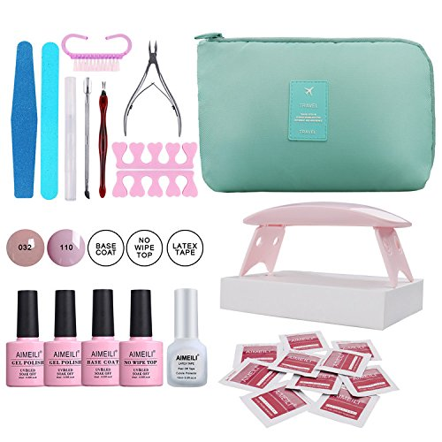 AIMEILI Gel Nail Polish Starter kit, Mini UV LED Lamp, Base and No Wipe Top Coat, 2 Color Gel, Latex Tape, Nail Art Manicure Tools Set Portable Travel Bag