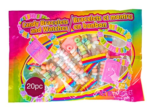 Candy Bracelets and Watches Pack of 20 - Perfect For Easter Egg Hunt Baskets Games Prizes