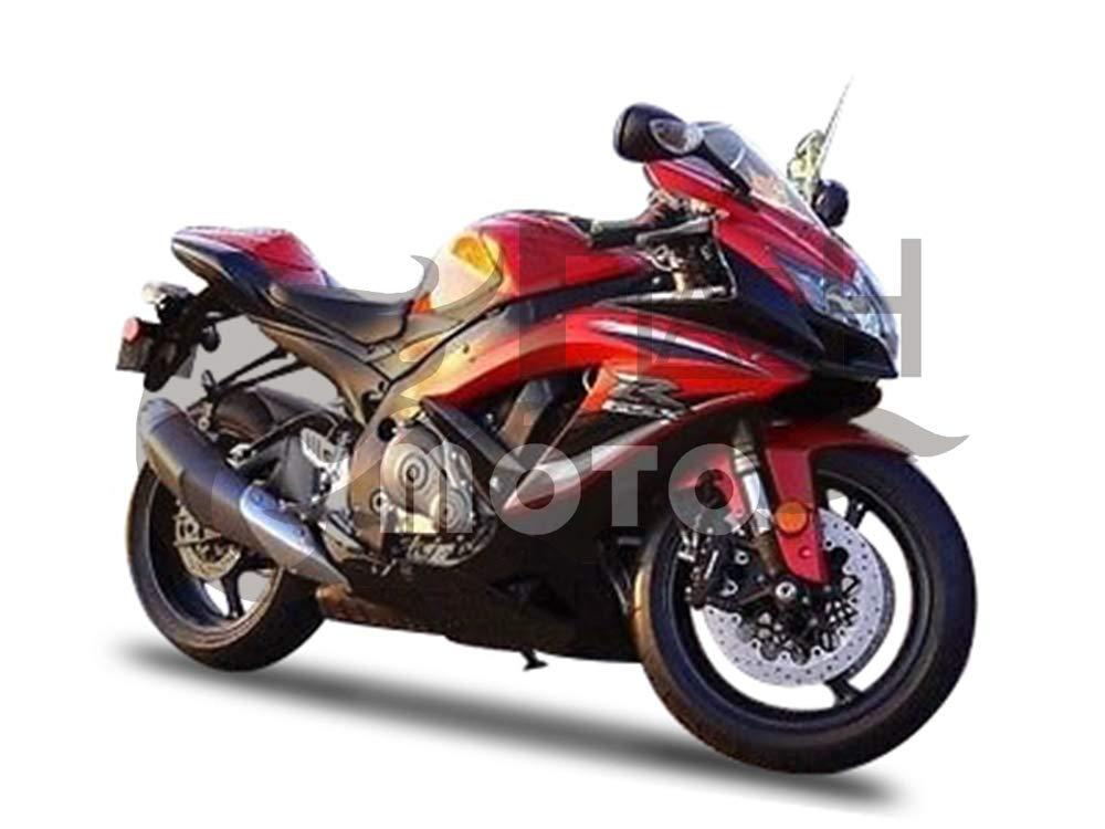 FlashMoto suzuki 鈴木 スズキ GSX-R600 GSX-R750 K8 2008 2009 2010用フェアリング 塗装済 オートバイ用射出成型ABS樹脂ボディワークのフェアリングキットセット (レッド,ブラック)   B07MNGZ7J3