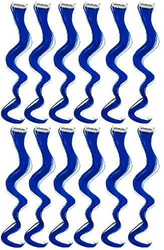 SWACC 12 Pcs Curly One Color Party Highlights Clip on in Hair Extensions Colored Hair Streak Synthetic Hairpieces (Blue)